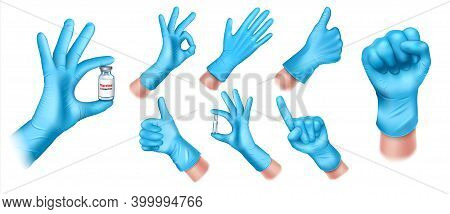 Set Of Medical Protective Gloves Made Of Blue Latex. Doctors Hand Gestures Ok, Okay, Hand With An Am