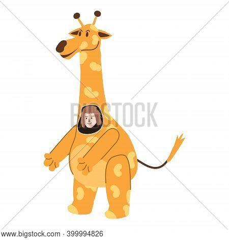 Actor In Animal Giraffe Costume. Theme Party, Birthday Kid, Children Animator, Entertainer Wearing P