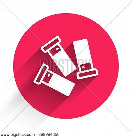 White Cartridges Icon Isolated With Long Shadow. Shotgun Hunting Firearms Cartridge. Hunt Rifle Bull