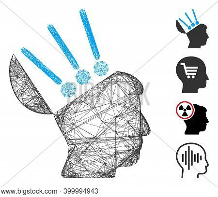 Vector Wire Frame Open Mind Interface. Geometric Wire Frame Flat Net Generated With Open Mind Interf