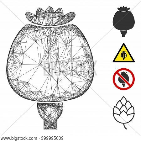 Vector Wire Frame Opium Poppy. Geometric Wire Frame 2d Net Generated With Opium Poppy Icon, Designed