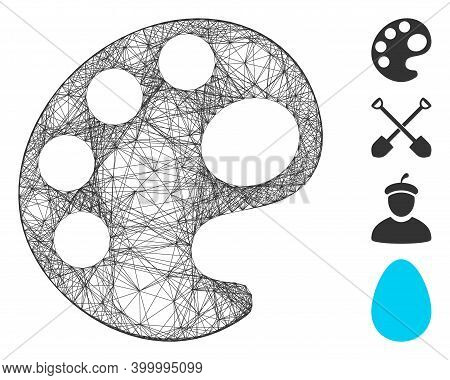 Vector Net Palette. Geometric Linear Carcass 2d Net Made From Palette Icon, Designed From Intersecte