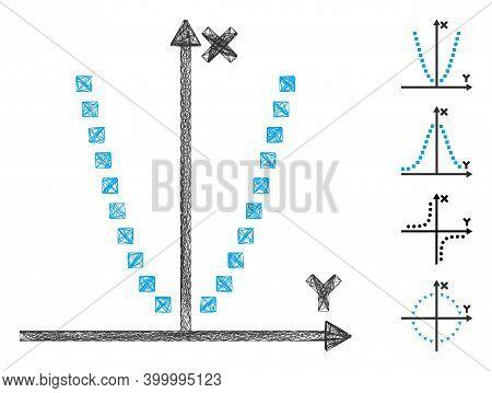 Vector Wire Frame Parabole Plot. Geometric Linear Frame Flat Network Made From Parabole Plot Icon, D