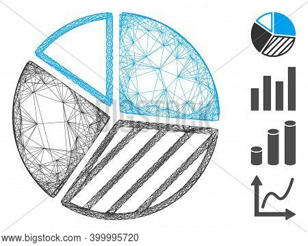 Vector Net Pie Chart. Geometric Wire Carcass Flat Net Generated With Pie Chart Icon, Designed With I