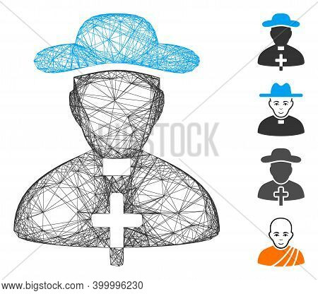Vector Wire Frame Priest. Geometric Wire Frame Flat Network Made From Priest Icon, Designed From Int