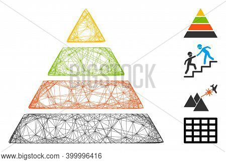 Vector Wire Frame Pyramid. Geometric Linear Carcass Flat Network Made From Pyramid Icon, Designed Fr
