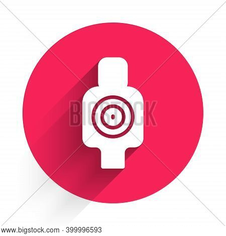 White Human Target Sport For Shooting Icon Isolated With Long Shadow. Clean Target With Numbers For