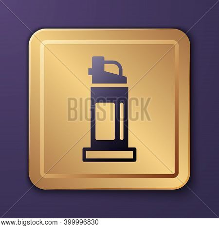 Purple Pepper Spray Icon Isolated On Purple Background. Oc Gas. Capsicum Self Defense Aerosol. Gold