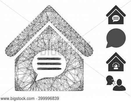 Vector Network Realty Message. Geometric Wire Carcass Flat Network Made From Realty Message Icon, De