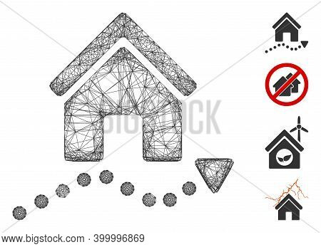 Vector Network Realty Trend. Geometric Linear Frame 2d Network Generated With Realty Trend Icon, Des