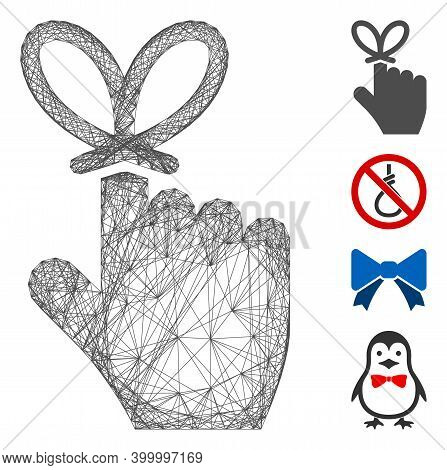 Vector Net Remember Knot. Geometric Wire Carcass Flat Net Made From Remember Knot Icon, Designed Fro