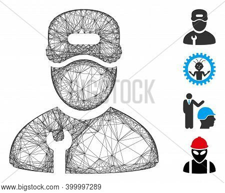Vector Wire Frame Repairman. Geometric Wire Frame 2d Net Made From Repairman Icon, Designed With Int