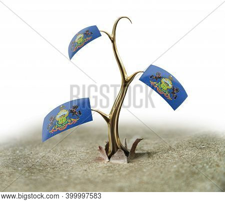 3d Illustration. 3d Sprout With Pennsylvania Flag On White