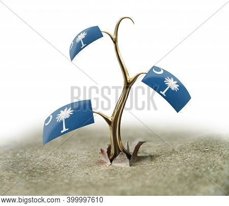 3d Illustration. 3d Sprout With South Carolina Flag On White