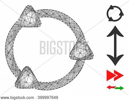 Vector Wire Frame Rotate. Geometric Wire Carcass Flat Network Made From Rotate Icon, Designed From I