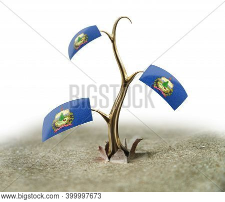 3d Illustration. 3d Sprout With Vermont Flag On White