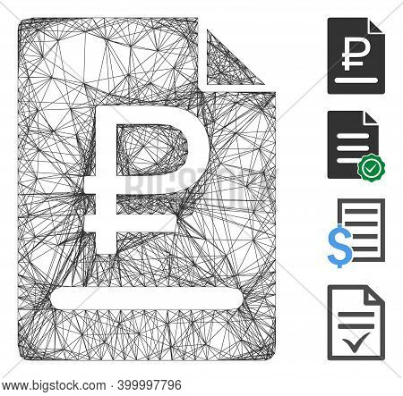 Vector Net Rouble Bill. Geometric Hatched Carcass Flat Net Generated With Rouble Bill Icon, Designed