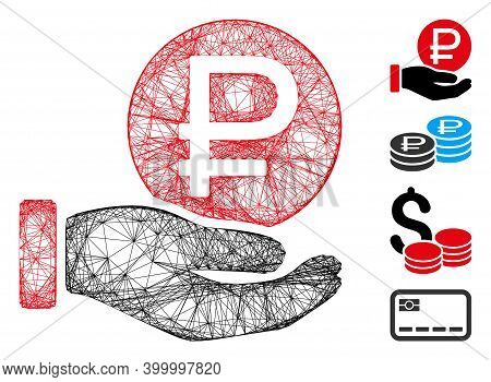Vector Wire Frame Rouble Coin Payment. Geometric Wire Carcass 2d Net Made From Rouble Coin Payment I