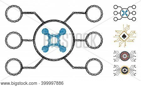 Vector Wire Frame Roulette Circuit. Geometric Wire Frame Flat Net Made From Roulette Circuit Icon, D