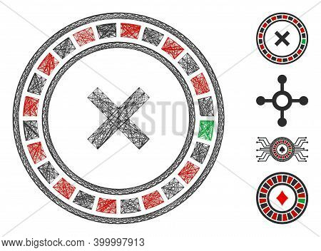 Vector Wire Frame Roulette. Geometric Wire Frame Flat Net Made From Roulette Icon, Designed From Int