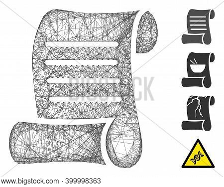 Vector Network Script Roll. Geometric Linear Carcass 2d Network Made From Script Roll Icon, Designed