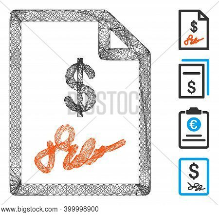 Vector Wire Frame Signed Invoice. Geometric Wire Frame 2d Network Made From Signed Invoice Icon, Des