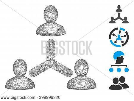 Vector Net Social Relations. Geometric Hatched Carcass 2d Net Made From Social Relations Icon, Desig