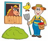 Farmer collection on white background - vector illustration. poster