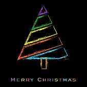 Stylized Christmas tree. Greeting card, gift card or invitation card for Merry Christmas. EPS 10 poster