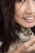 pretty woman holding puppy on an isolated background poster