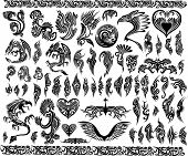 Iconic Dragons border frames Tattoo Tribal Vector Set poster