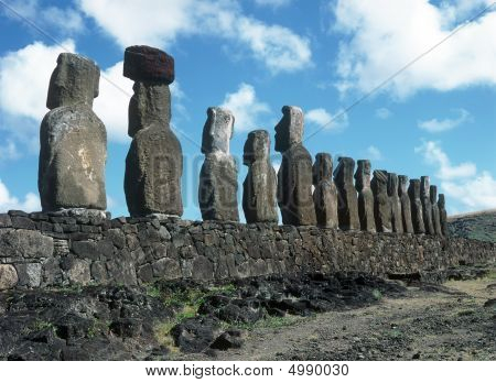 Moais of Ahu Akivi inlandon the UNESCO World Heritage of Easter Island Chile poster