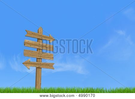 Old wooden empty sign post on sky background - rendering poster
