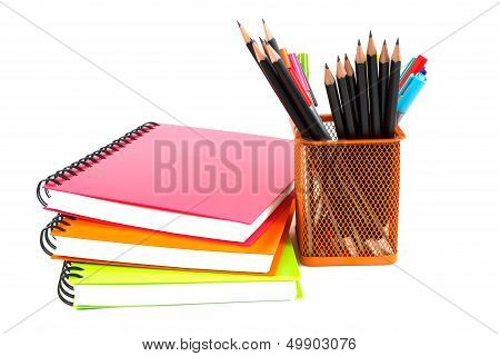 Notebook And Pencils On White Background