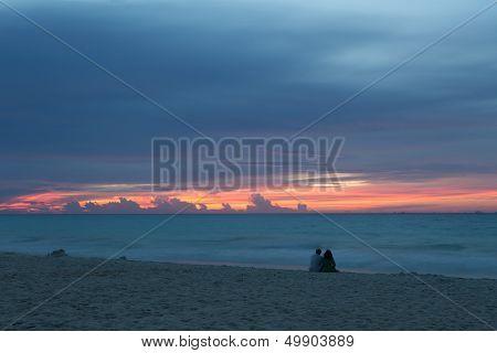Couple Watching Cozumel Island