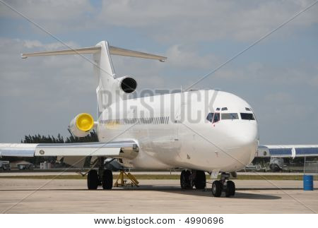 Passenger jet airplane in plain white color poster