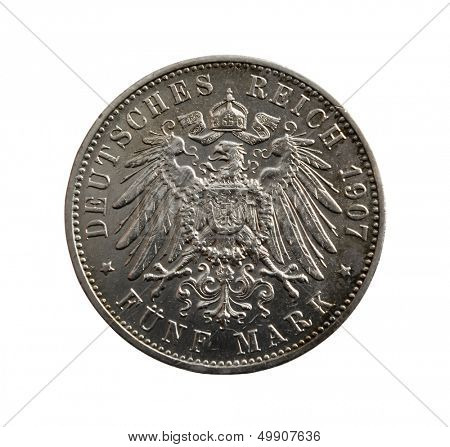 poster of Old silver coin - five German marks  isolated on white