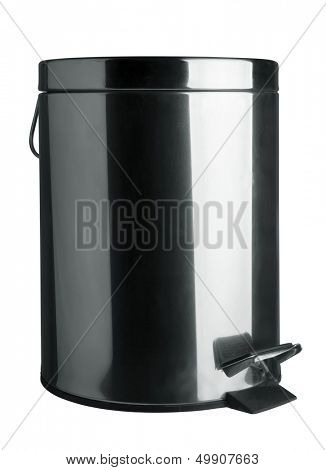 Stainless steel garbage bin isolated on white
