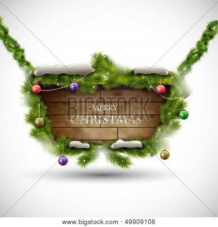 Merry Christmas wooden board with snow eps10 vector illustration poster