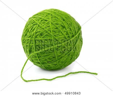 Green wool yarn ball isolated on white