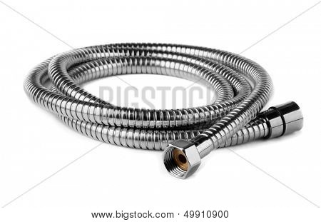 Steel water shower flexible hose isolated on white