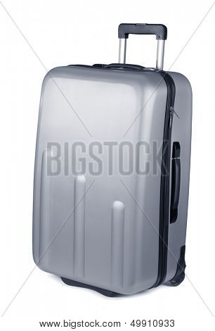 Silver plastic suitcase on wheels isolated on white