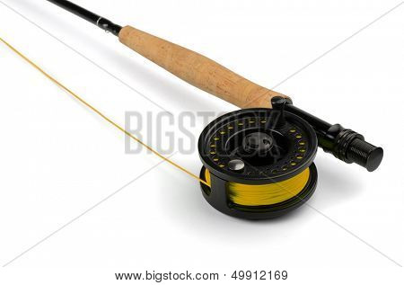 Close up of fly fishing rod and reel isolated on white