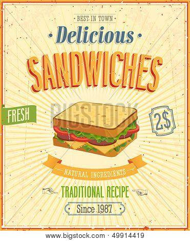 Vintage Sandwiches Poster. Vector illustration.