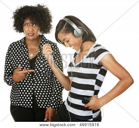 Woman Next To Dancing Teen