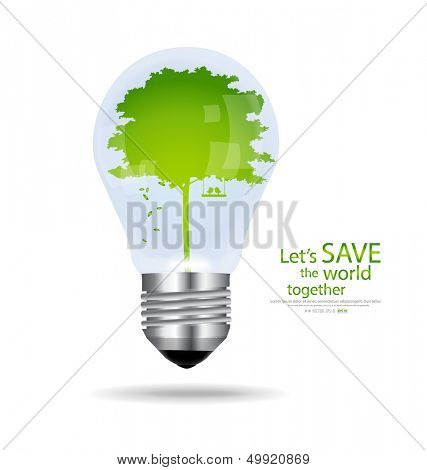Save the world, Light bulb with tree inside. Vector illustration. poster