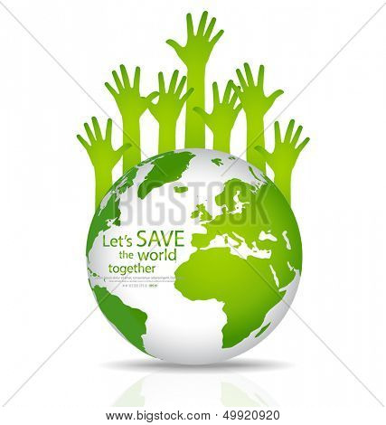 Save the world, Globe with hands. Vector illustration. poster