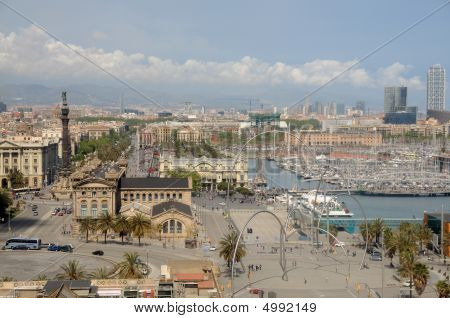 Aerial view of the Port Vell district of Barcelona Spain poster