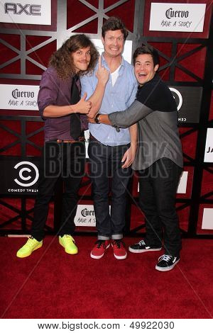 LOS ANGELES - AUG 25:  Blake Anderson, Anders Holm, Adam DeVine at the Comedy Central Roast Of James Franco at the Culver Studios on August 25, 2013 in Culver City, CA