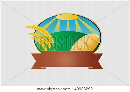 Vector label of bread